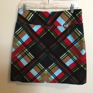 Etcetera brown/red/blue plaid corduroy skirt 4/6